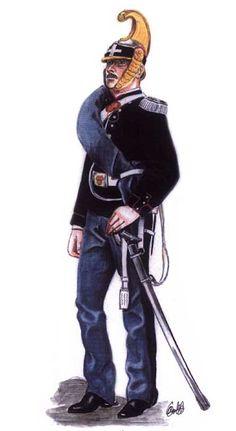 1860-1863 Soldato di Savoia Cavalleria in montura di marcia