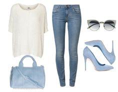 Moda na wiosnę 2015 - prosta stylizacja na co dzień z błękitnymi, pastelowymi szpilkami.