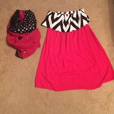 Brand new PIXI➕IVY DRESS!! GO FALCONS Brand new PIXI and Ivy strapless dress! So so perfect for game day in GA or Ohio even! Red body with black and white chevron patterned ruffle over chest. Size Large very soft silky material but light and airy. Comes with a one size Infinity scarf on same colors! Great on tailgating days!!!! Pixi and ivy Dresses Strapless