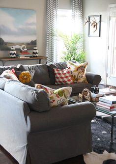 sectional Ektorp sofa in dark grey More