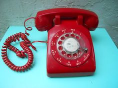 1960's Bright Red Bakelite Rotary Telephone  #Found on Etsy in the shop: erinroseoconnor