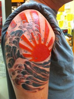 japanese rising sun tattoo | Japanese sun and wave tattoo |