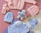 Vintage Knitting Pattern PDF Baby Cable Pram Sets Cardigan Jacket Beanie Hat and Mitts Includes Premature Sizes Baby Cardigan Knitting Pattern Free, Baby Boy Knitting Patterns, Baby Sweater Patterns, Knitted Baby Cardigan, Knit Baby Sweaters, Knitted Baby Clothes, Knitting For Kids, Baby Patterns, Free Knitting
