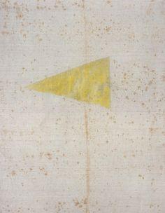 Sergej Jensen The Last Yellow Triangle (Das letzte gelbe Dreieck), 2005  Gouache, acrylic chlorine bleach on linen  29 1/2 x 21 1/2 inches  Courtesy Anton Kern Gallery, New York  (AK# 4107)