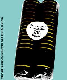 Krymphättor Svart/Guld 28-PACK - Svar/guld krympkapsyler - krymphättor - i plast, som man enkelt värmer på flaskan, skyddar korken mot uttorkning och ger ett professionellt utseende.   Krympkapsylerna drar ihop sig vid 90°C, t.ex. när man doppar dem i kokande vatten eller värmer med en varmluftspistol.