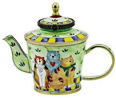 KELVIN CHEN Enamel Mini Teapot- Cat Cowboy Family | eBay