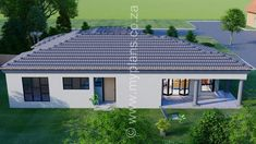 3 Bedroom House Plan - My Building Plans South Africa 4 Bedroom House Plans, Family House Plans, Single Storey House Plans, House Plans South Africa, Tuscan House, Dream House Exterior, Building Plans, Open Plan, Mlb