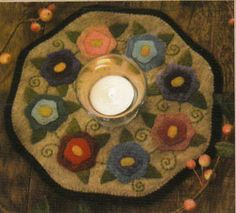 FLOWERS CANDLE MAT QUILTING PATTERN, From Bareroots Patterns NEW 3 • CAD 7.26