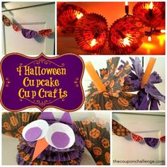 4 Halloween Cupcake Cup Crafts {On a Dollar Store Budget} Easy Halloween Food, Halloween Cupcakes, Halloween Crafts, Holiday Crafts, Halloween Season, Fall Halloween, Halloween Party, Cup Crafts, Easy Crafts