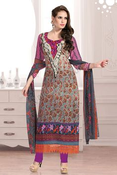 Shopping the designer Blue Cream Cotton Trouser Suit with Dupatta now in store. Indian Salwar Kameez, Churidar Suits, Salwar Kameez Online, Trouser Suits, Trousers, Designer Punjabi Suits, Suit Fabric, Desi Clothes, Types Of Dresses