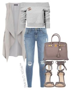 """Untitled #3283"" by stylebydnicole ❤ liked on Polyvore featuring Mint Velvet, Frame Denim, Gianvito Rossi, Estradeur, Chanel and Hermès"