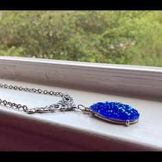 """Selling this """"Beautiful royal blue silver brass necklace"""" in my Poshmark closet! My username is: lauren_briggs. #shopmycloset #poshmark #fashion #shopping #style #forsale #Nameless Creations #Jewelry"""