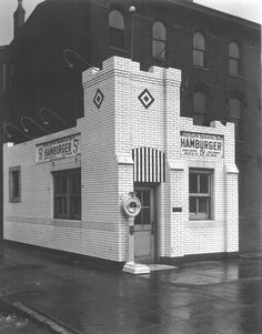 White Castle, SW corner 1st and Broadway.  I passed by this corner going to and coming from Presentation.