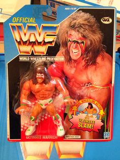 Latest addition to the wall. Ultimate Warrior 2 with butterfly hook. Card is in great shape aside from a small corner bend. First warrior MOC I've purchased. Amazing hair on this guy! Wrestling Stars, Wrestling Wwe, Wrestling Costumes, Retro Toys, Vintage Toys, Wwf Toys, Wwf Hasbro, Wwe Action Figures, Wrestling Superstars