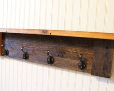 rustic 5 hook coat and hat rack with shelf handmade from