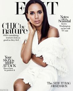 Cover girl: Kerry Washington flashes just a hint of skin on the cover of The Edit, wrapping herself up in a jacket from Isabel Marant