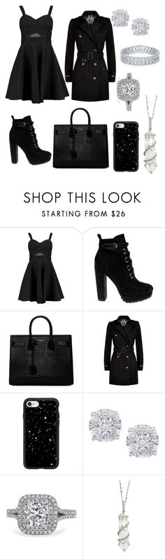 """""""total black"""" by puccipucci ❤ liked on Polyvore featuring Boohoo, Daya, Yves Saint Laurent, Burberry, Casetify, Effy Jewelry and Sharon Khazzam"""