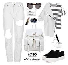 """""""Bright White: Summer Denim, Yoins!"""" by samra-bv ❤ liked on Polyvore featuring Illesteva and Bobbi Brown Cosmetics"""
