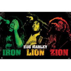 Bob Marley Domestic Poster, Distressed Iron Lion Zion Logo With Rasta Colored Bob Performing Live Photos Inches x 20 Inches), Bob Marley Iron Lion Zion Domestic Poster, Bob Marley Posters/Wall Art, Bob Marley Merchandise Bob Marley Kunst, Bob Marley Art, Reggae Art, Reggae Music, Iron Lion Zion, Rasta Art, Rasta Lion, Bob Marley Pictures, Nesta Marley