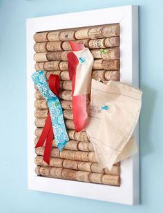 DIY Corkboard: Select a deep frame OR cut wine corks with an extra-fine razor saw (available at hobby shops) to fit the chosen frame. Attach corks to the frame backing with wood glue.  * I like this better as just a piece of decorative art. The frame could be painted with any designs to add more appeal.