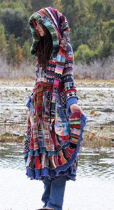 \SuperDuperUbberAwesome patchwork ragamuffin elf pixie rave recycled sweater coat. $544.44, via Etsy.