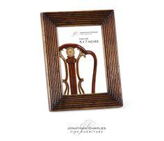 "Walnut ribbed picture frame (5""x7"") #hpmkt #jcfurniture #jonathancharles #Furniture #InteriorDesign #decorex #Portobello"