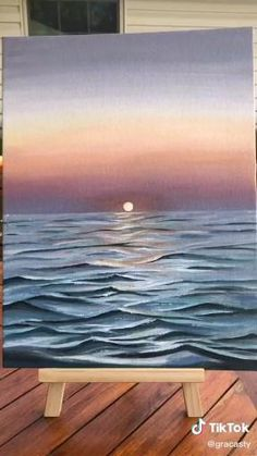 Simple Canvas Paintings, Small Canvas Art, Mini Canvas Art, Easy Canvas Art, Seascape Paintings, Landscape Paintings, Canvas Painting Tutorials, Diy Painting, Painting Techniques
