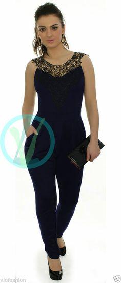 Womens Celeb Jumpsuit Floral Lace Navy Party Slim Leg Playsuit Romper Size 8 14