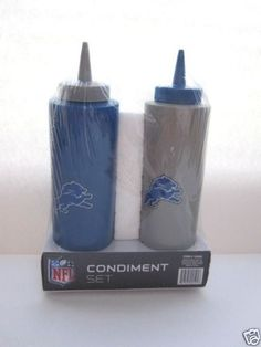NFL Detroit Lions Condiment Set- Tailgating- Football Party Accessories! For true Lions fans only !