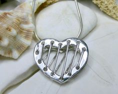 Sterling Silver Corset Heart Pendant Necklace w by EverythingIOwn