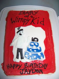 Diary Of A Wimpy Kid cake made by my talented sister Jessica for my 10 year old sons Birthday Party!