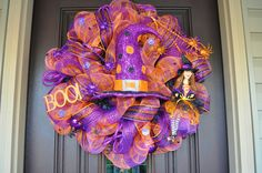 Lighted Halloween Wreath. Halloween Wreath,, Lighted Wreath, Wreath,Witch Hat, Witch Wreath, Halloween Decor, Door Hanger. $135.00, via Etsy.