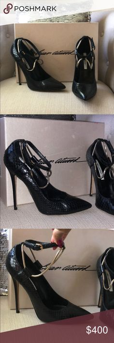 Kaela Black Snake - stiletto ankle chain pump Black snake skin pump - leather sole - ankle strap with gold drop ankle chain. This shoe is cut narrow - I've worn them no more than 4 times due to the narrow fit. Heel 120MM Brian Atwood Shoes
