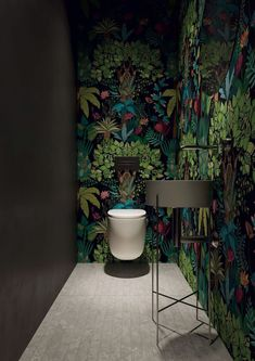 bathroom furniture botany look jungle wallpaper - Badezimmer ♡ Wohnklamotte Toilette Design, Downstairs Toilet, Inside Design, Interior Design Magazine, Interiores Design, Home Organization, Interior Styling, Interior Modern, Home Furnishings