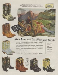 1957 Acme cowboy boots full-page ad