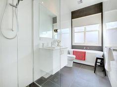 Classic bathroom design with bi-fold windows using frameless glass - Bathroom Photo 110717