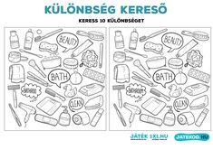 Különbségkereső - ingyenesen LETÖLTHETŐ játék gyerekeknek - (2) Fürdőszoba | Játékod - online és letölthető logikai és fejlesztő játékok Bullet Journal