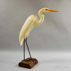 Hugh Norman Carved and Painted Egret. | Lot 60 | Auction 2959M | Sold for $400