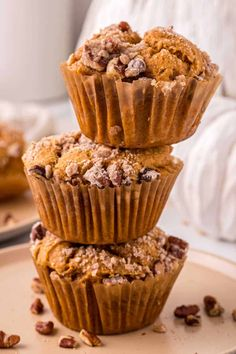 Pumpkin Crumb Muffins - Enjoy this easy and perfectly spiced fall dessert recipe for breakfast, dessert or a snack. Delicious and made from scratch with a moist and soft muffin base topped with a cinnamon pecan crumb topping and a sweet vanilla glaze. Fall Dessert Recipes, Fall Desserts, Brunch Recipes, Breakfast Recipes, Vanilla Glaze, Salted Or Unsalted Butter, Pumpkin Muffin Recipes, Cinnamon Pecans, Baking Muffins