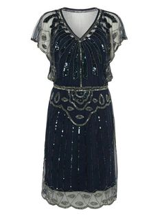 Navy Blue Vintage inspired Flapper Great Gatsby Beaded Charleston Sequin  Art Deco Downton Abbey Mod Dress New Hand Made ba64b074f