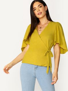 Elegant Plain Top Regular Fit V neck Half Sleeve Flounce Sleeve Yellow Regular Length Flared Sleeve Wrap Tie Waist V-Neck Blouse Half Sleeves, Types Of Sleeves, Sleeves Designs For Dresses, Plain Tops, V Neck Blouse, Fashion News, Fashion Women, Fashion Online, Fashion Trends