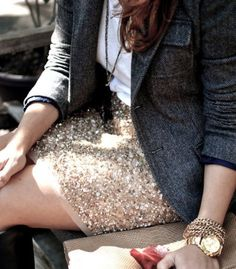 how to wear sequins during the day.