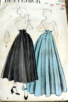What a beautiful silhouette. Perfect for goth fashion. Vintage Dress Patterns, Vintage Skirt, Clothing Patterns, Vintage Dresses, Vintage Outfits, 1950s Fashion, Vintage Fashion, Do It Yourself Fashion, Moda Vintage