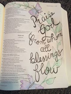 from the hive: bible journaling, hymns, Praise God From Whom All Blessing Flow, water color pencils
