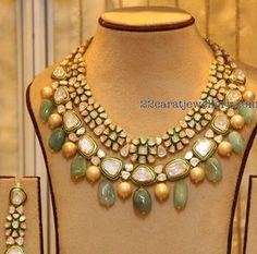 Diamond Jewelry 22 carat gold kundan necklace with flower shaped motifs attached at the top row and square shaped large atones attached in the bottom. - Latest Collection of best Indian Jewellery Designs. Indian Wedding Jewelry, Bridal Jewelry, Indian Bridal, India Jewelry, Diamond Jewelry, Gold Jewelry, Women Jewelry, Dainty Jewelry, Etsy Jewelry