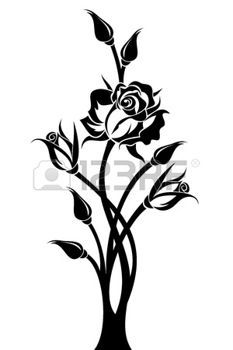stencils: Black silhouette of branch with rose and buds. Vector illustration.