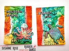 Susanne Rose Designs: Artist Trading Cards with Rubber Dance
