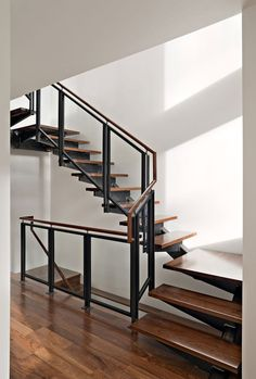 World of #Architecture: Steel wood and glass #staircase