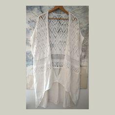 Women's summer jacket openwork long jacket loose white