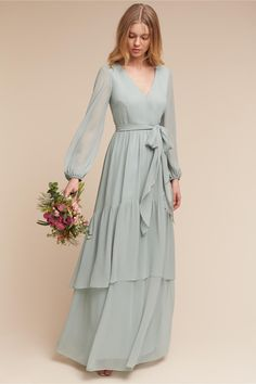 Fashion dresses - Exquisit Chiffon Vneck Long Sleeves Aline Bridesmaid Dresses With Belt – Fashion dresses Muslim Fashion, Modest Fashion, Hijab Fashion, Fashion Dresses, 70s Fashion, Winter Fashion, Fashion Tips, Modest Dresses, Trendy Dresses